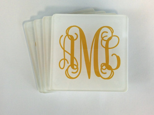 Simple Monogram - Personalized Glass Coasters