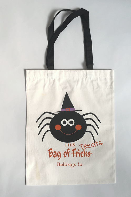 Happy Spider - Personalized Canvas Halloween Tote
