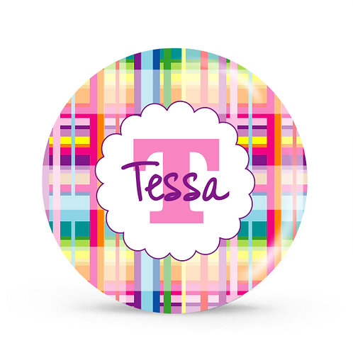 Rainbow Plaid - Personalized Plate For Kids