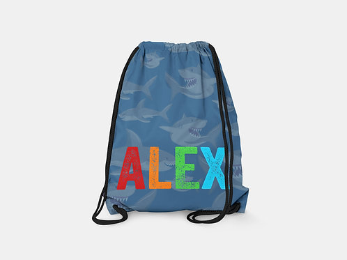 Sharks - Personalized Draw String Bag