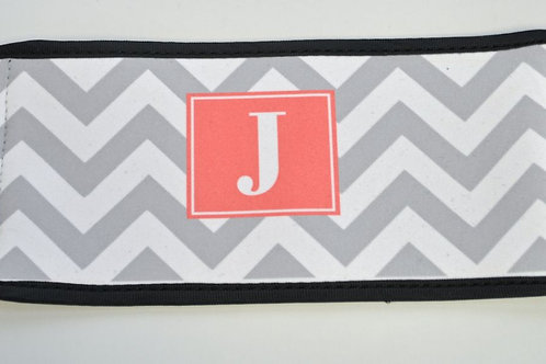 Gray Chevron - Personalized Can Koozie