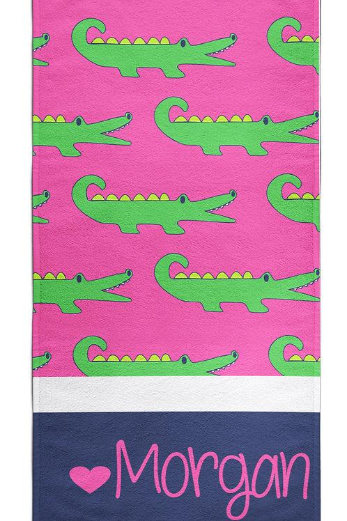Green Croc - Personalized Beach Towel