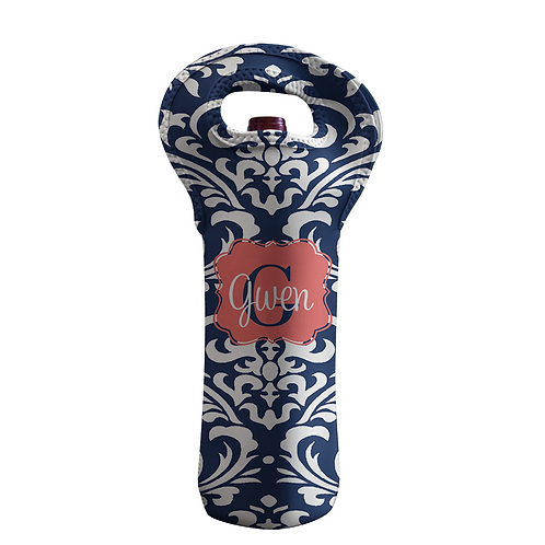 Damask Blue - Personalized Wine Bottle Tote