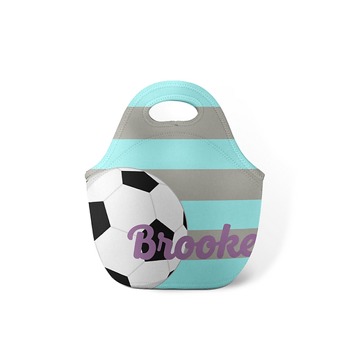 Ice Blue Soccer - Personalized Lunch Tote
