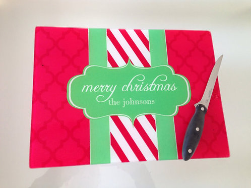 Cane - Personalized Christmas Glass Cutting Board