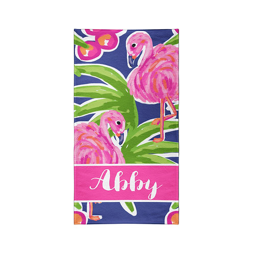 Flamingos - Personalized Beach Towel