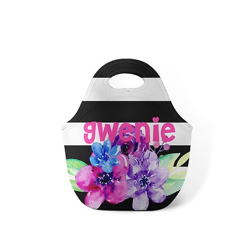 Floral Stripes - Personalized Lunch Tote