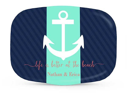 Striped Anchor - Personalized Nautical Platter