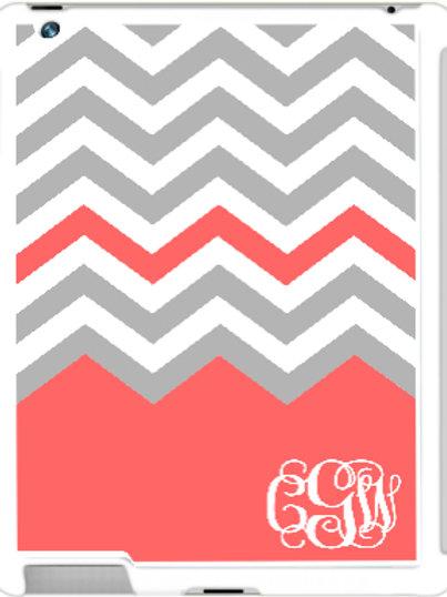 Gray Chevron - Personalized iPad- iPad Mini Case