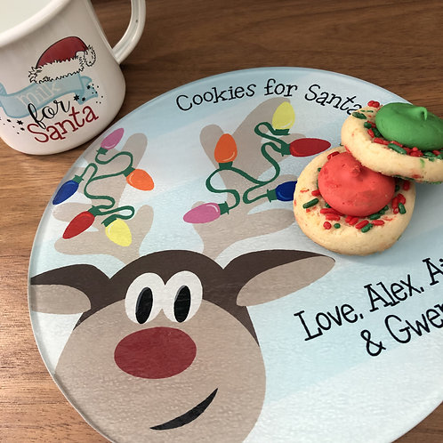 Cookies For Santa - Reindeer Plate and Mug Set for Kids
