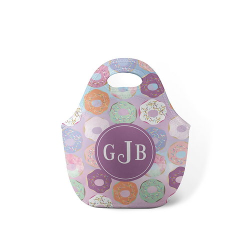 Purple Donuts - Personalized Lunch Tote
