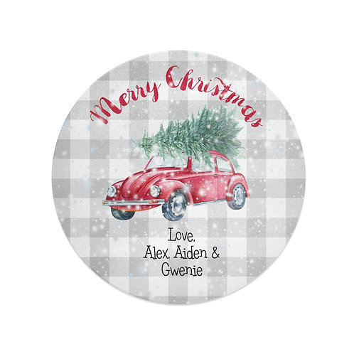 VW Bug - Personalized Glass Christmas Cutting Board