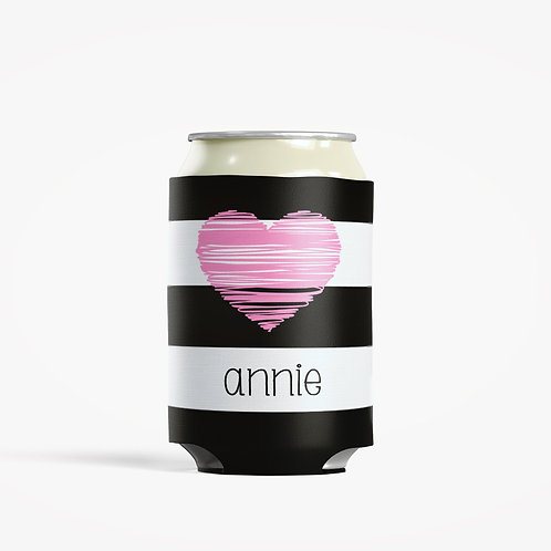 Pink Heart - Personalized Can Insulator Coolie