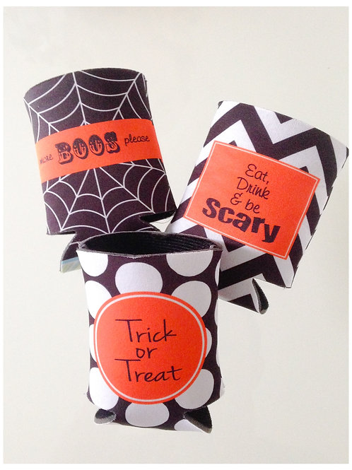 Set of 3 - Personalized Halloween Party Coolies