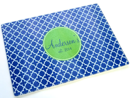 Blue Trellis - Personalized Glass Cutting Board