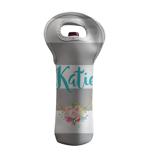 Gray Strips - Personalized Wine Bottle Tote