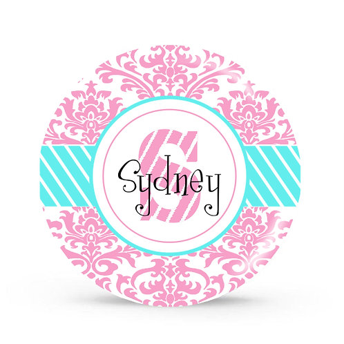 Oliva Damask - Personalized Plate For Kids