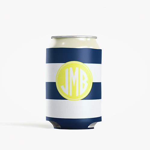 Blue Stripes  - Personalized Can Insulator Coolie