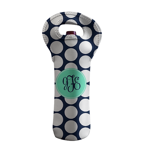 Black Dots - Personalized Wine Bottle Tote