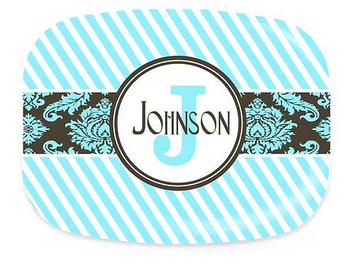 Aqua Stripes - Personalized Platter
