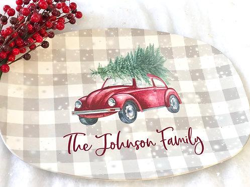Classic Plaid VW Bug Christmas Tree Platter