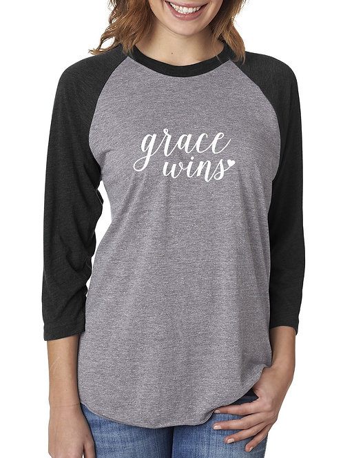 Grace Wins - Raglan Tee Christmas Apparel