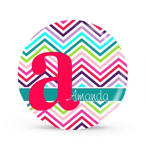 Rainbow Chevron - Personalized Plate For Kids