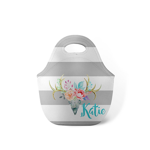 Antlers Grey Stripes - Personalized Lunch Tote