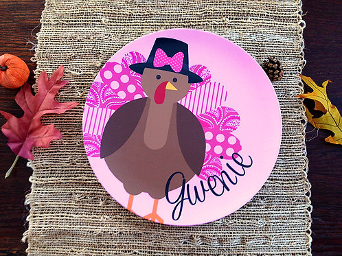 Mrs. Turkey - Personalized Thanksgiving Plate