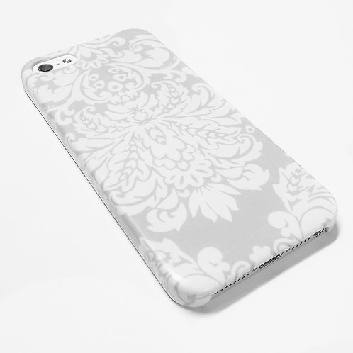 Gray Damask - iPhone Wrap Around Cell Phone Case