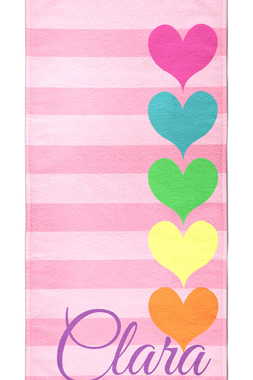 Rainbow Hearts - Personalized Beach Towel