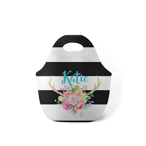Antlers Stripes - Personalized Lunch Tote