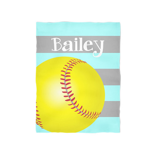 Softball - Personalized Throw Blanket