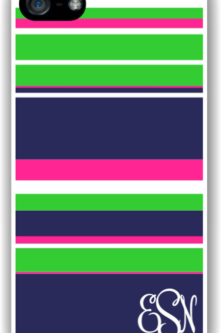 Pink and Blue Stripes - Personalized iPhone 6 Case