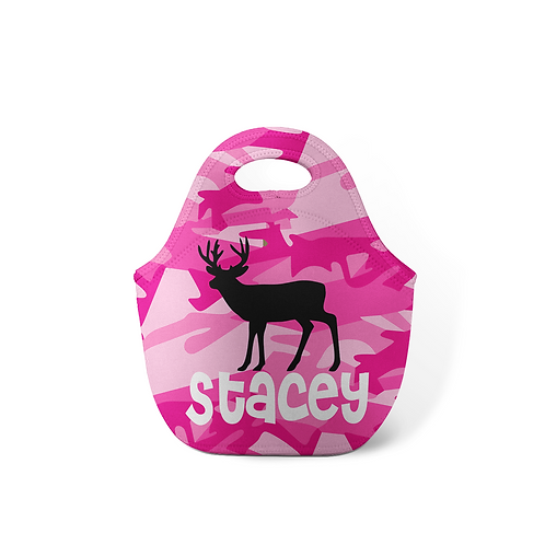 Pink Camo Deer - Personalized Lunch Tote