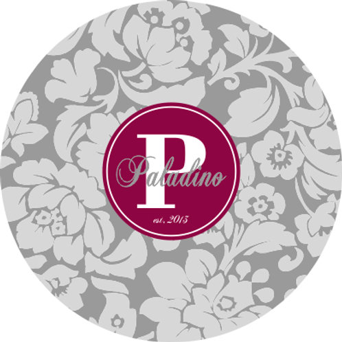 Gray Floral - Personalized Round Cutting