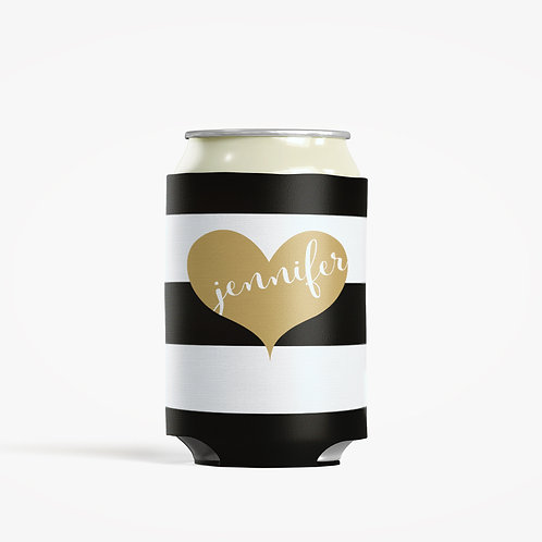 Gold Stripes - Personalized Can Insulator Coolie