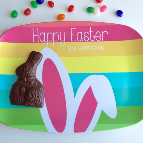 Personalized easter gifts bunny ears personalized easter platter negle Images