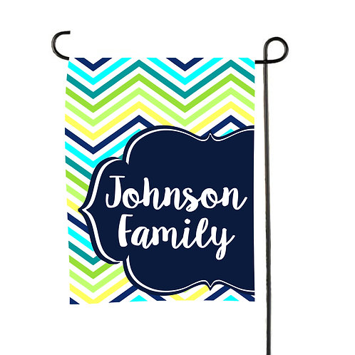 Aqua Chevron - Personalized Garden Flag