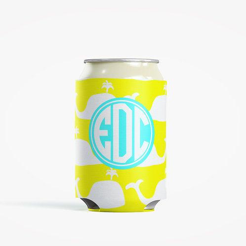 Yellow Whale  - Personalized Can Insulator Coolie