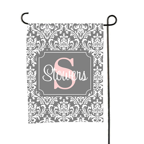 Gray Damask  - Personalized Garden Flags