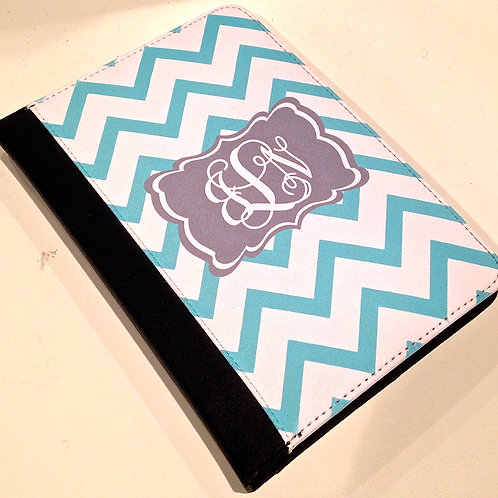 Personalized iPad Mini Folio Case - Blue Chevron