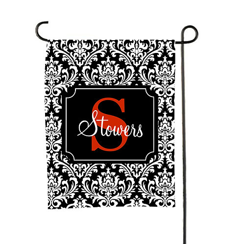 Black Damask  - Personalized Garden Flags
