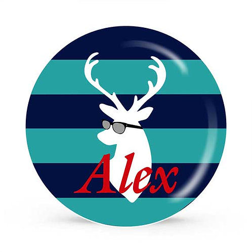 Cool Deer - Personalized Plate For Kids