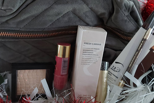 Luxury velvet Beauty Bag filled with luxury products
