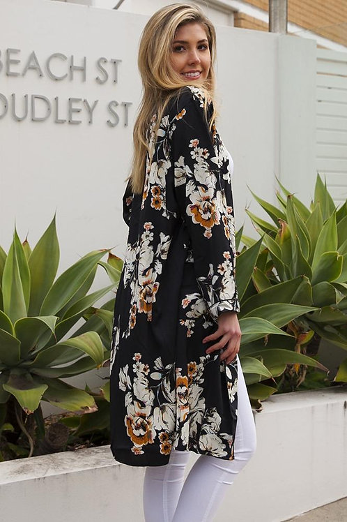 Isabella Floral Black Cape/Kimono