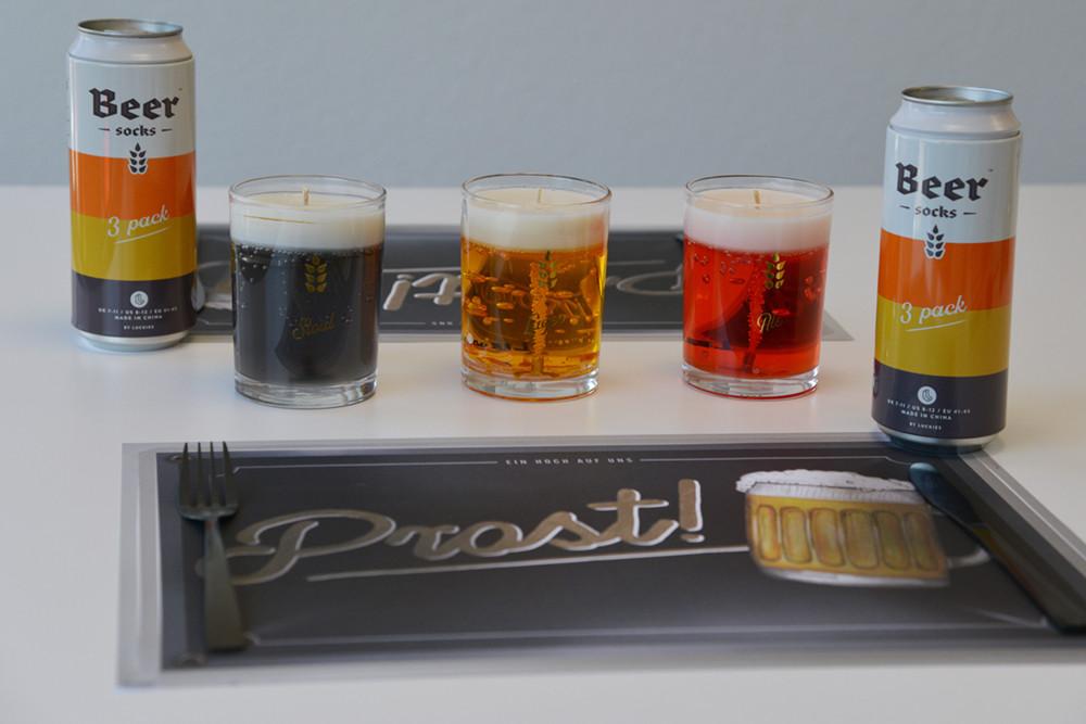 Biersocken, Bierkerzen und das passende Tischset