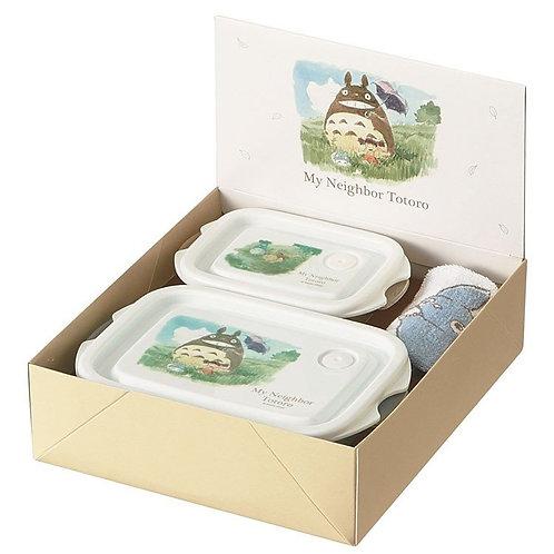 (只接受訂貨) 日本製 My Neighbor Totoro 龍貓 禮盒便當收納盒 (M+SS 各一) + 手巾仔禮盒裝 378324