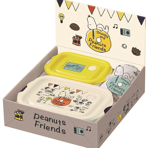 (只接受訂貨) 日本製 Snoopy Peanuts Friends 禮盒便當收納盒 (M+SS 各一) + 手巾仔禮盒裝 384295