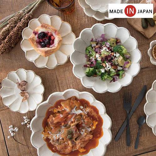 (預訂) 日本製 復古風美濃燒輪花瓷碟